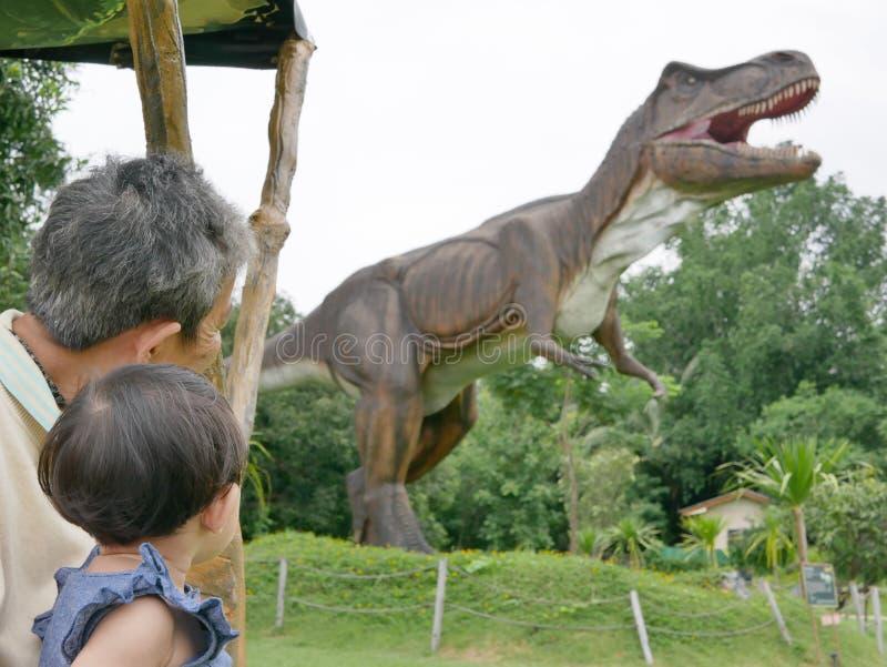 El bebé asiático, así como su abuela, gozó el mirar de un dinosaurio foto de archivo