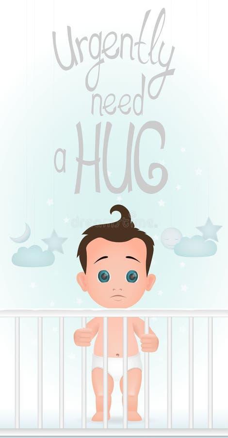 El bebé derecho triste es en la necesidad del pesebre un abrazo Diseño plano stock de ilustración