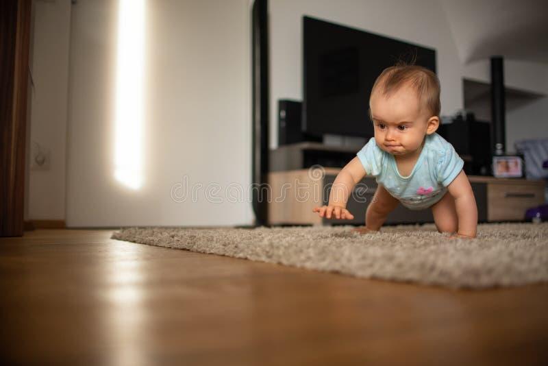 El bebé divertido va abajo en todos los fours en hogar fotos de archivo