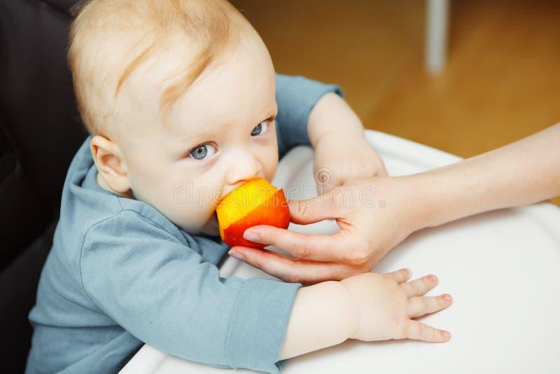 El bebé en highchair y madre lo alimenta con el melocotón fotografía de archivo