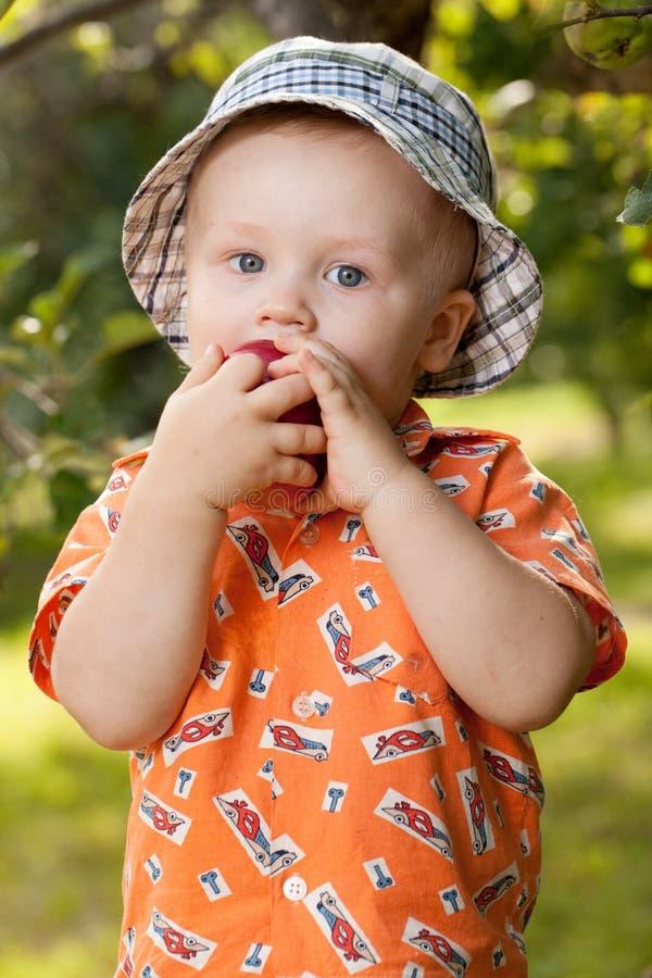 El bebé encantador come la manzana deliciosa fotos de archivo