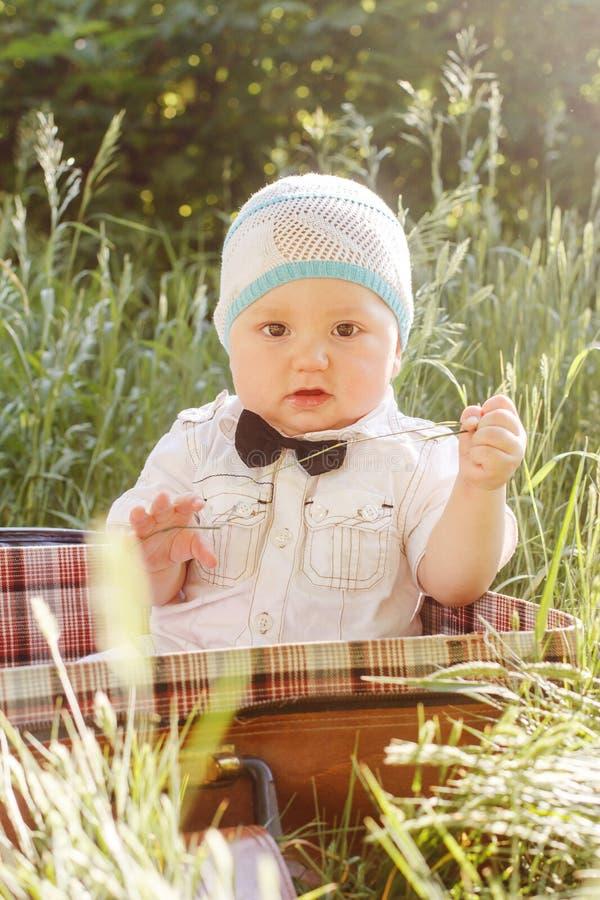 El bebé lindo en corbata de lazo se sienta en una maleta en la hierba fotos de archivo