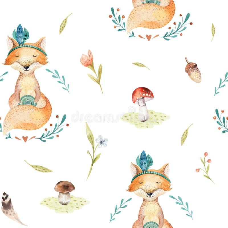 El bebé lindo foxes el modelo inconsútil animal para la guardería, nurser libre illustration