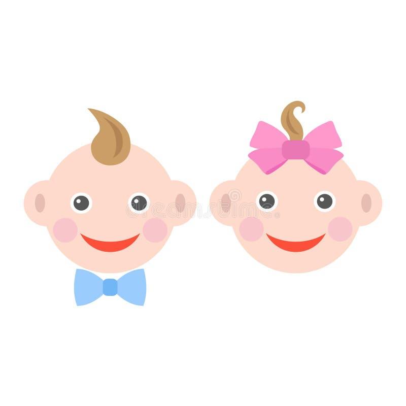 El bebé lindo hace frente de un muchacho y de una muchacha en un fondo blanco libre illustration