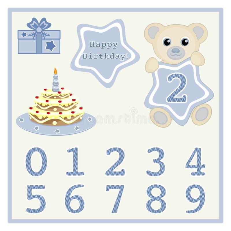 El bebé lindo lleva el ejemplo del vector con la estrella y numera al bebé de la torta de cumpleaños del símbolo y de la historie libre illustration