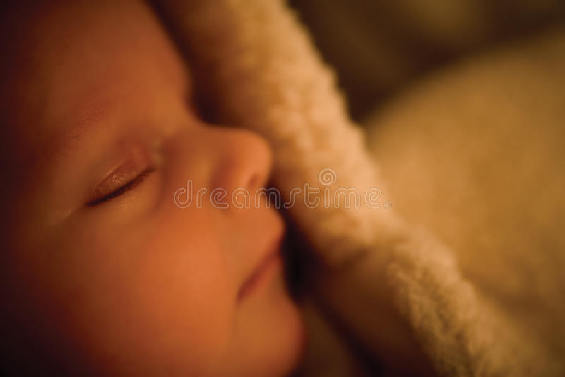 El bebé minúsculo dormido en bebé peludo crece imagenes de archivo
