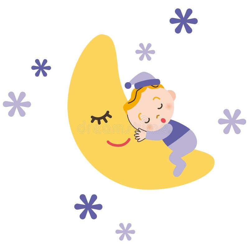 El bebé que duerme con la luna stock de ilustración