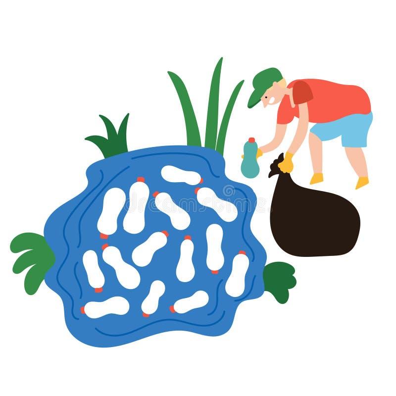 El bebé recoge las botellas plásticas de la basura en el lago libre illustration