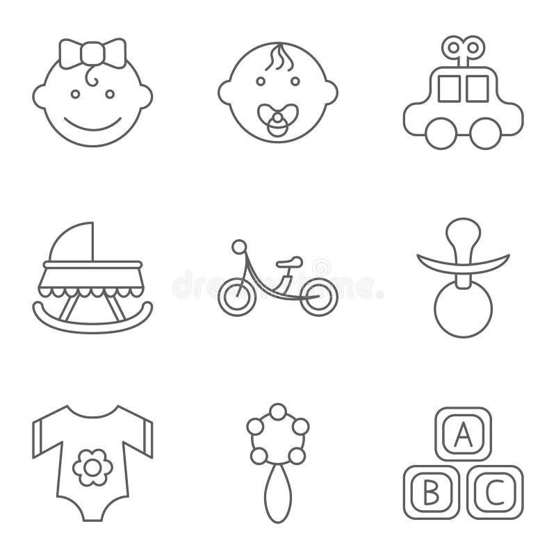 El bebé relacionó el sistema plano del icono del vector ilustración del vector