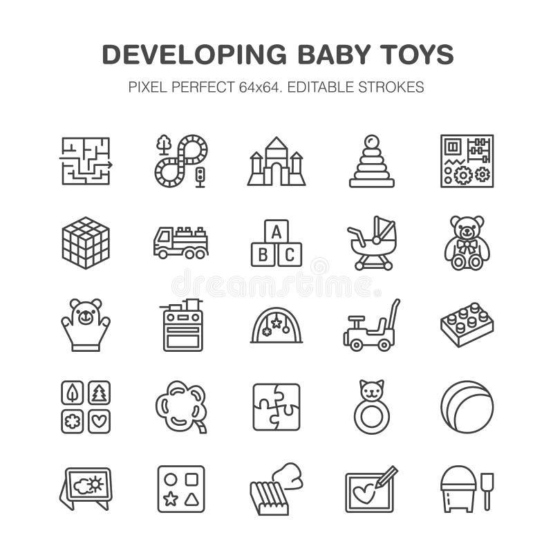 El bebé temprano del desarrollo juega la línea plana iconos Juegue la estera, clasificando el bloque, tablero ocupado, carro, coc ilustración del vector