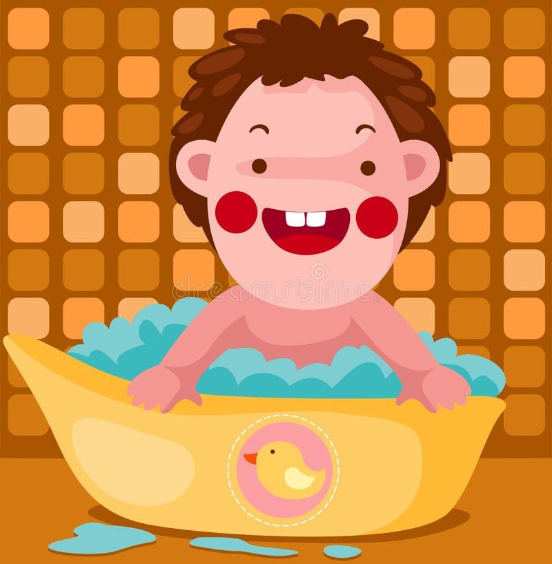 El bebé toma un baño de burbuja ilustración del vector