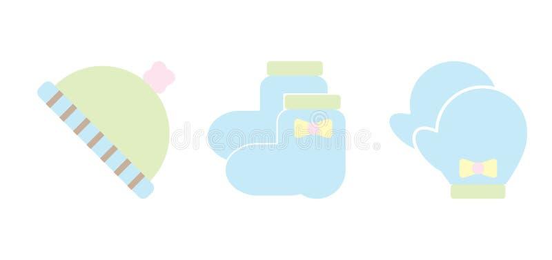 El bebé viste iconos de los accesorios en vector dimensionable editable del color por completo stock de ilustración