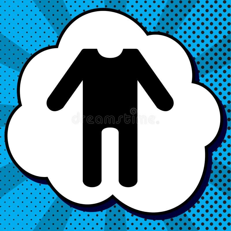 El bebé viste la muestra Vector Icono negro en burbuja en estallido-arte azul stock de ilustración
