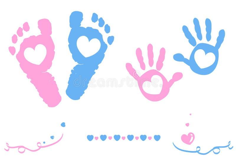 El bebé y los pies y la mano gemelos del muchacho imprimen la tarjeta de llegada ilustración del vector