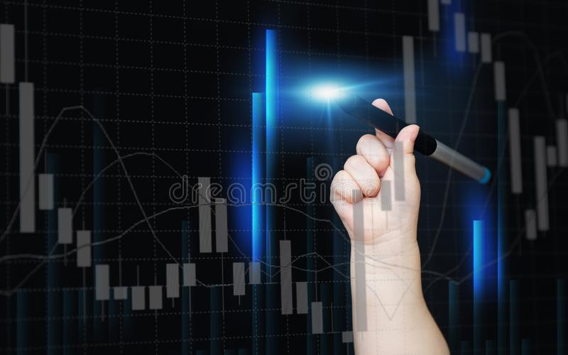 El beb? reci?n nacido dibuja en cartas financieras de una pantalla virtual Velas de divisas libre illustration