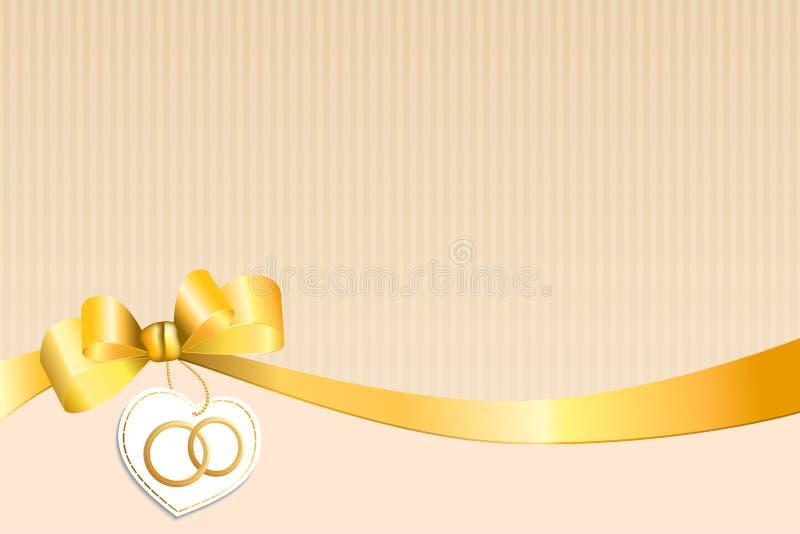 El beige abstracto del fondo pela el corazón amarillo blanco del arco con los anillos de oro de la boda ilustración del vector
