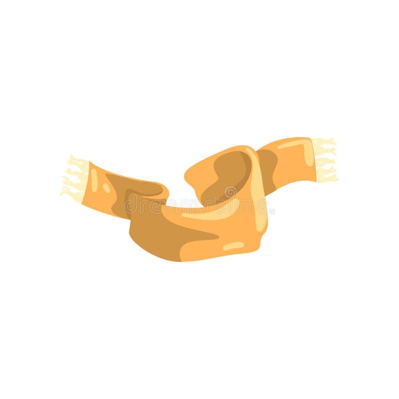 El beige hizo punto la bufanda con la franja en los extremos Caliente el accesorio de lana para la estación del otoño y del invie ilustración del vector
