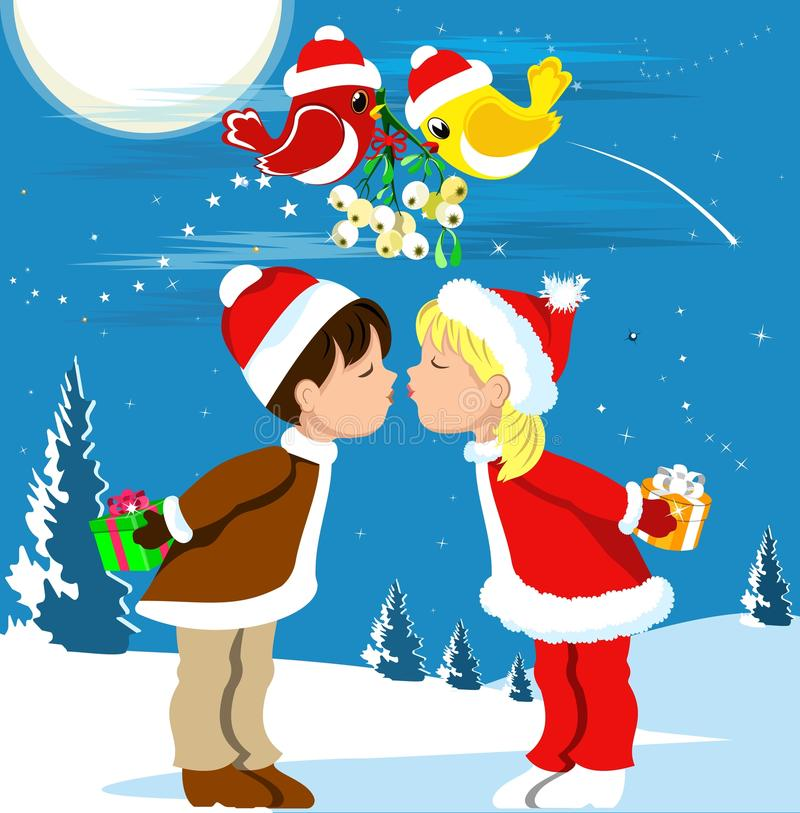 El besarse bajo el muérdago stock de ilustración