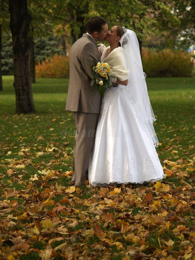 El besarse casado de los jóvenes apenas fotos de archivo