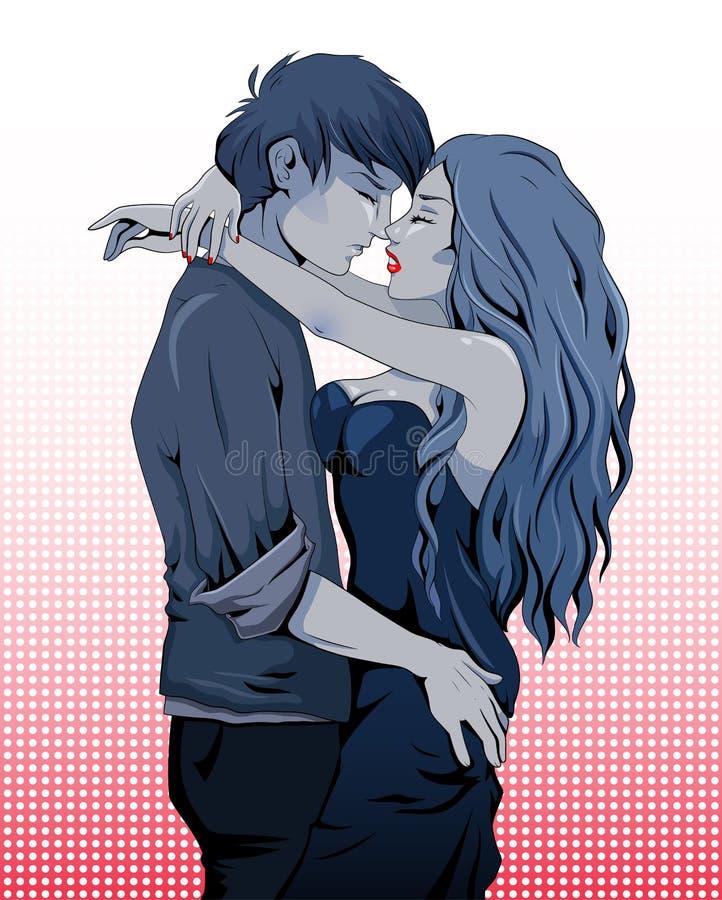 El besarse de los pares ilustración del vector