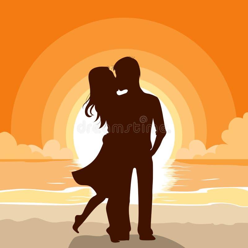 El besarse de los pares de la playa de la puesta del sol stock de ilustración