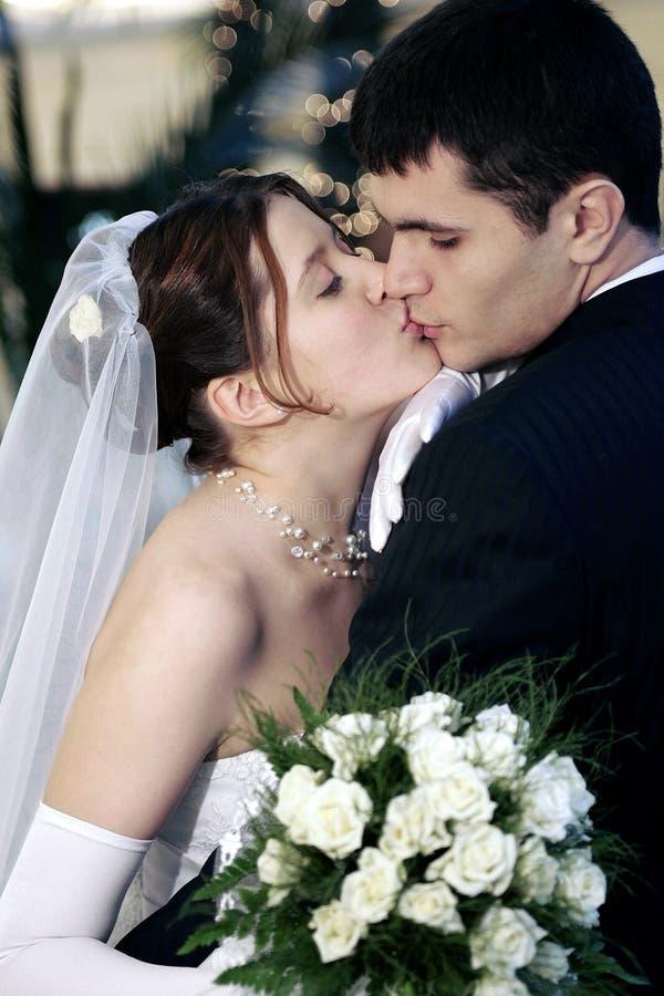 El besarse de los pares del recién casado foto de archivo