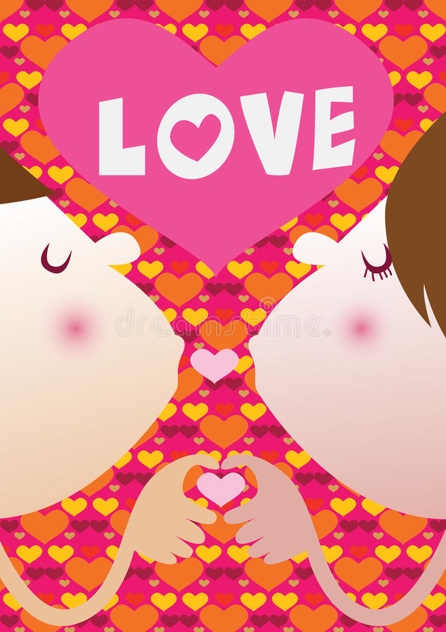 El besarse del amante Ejemplo del vector para el día de tarjeta del día de San Valentín foto de archivo libre de regalías