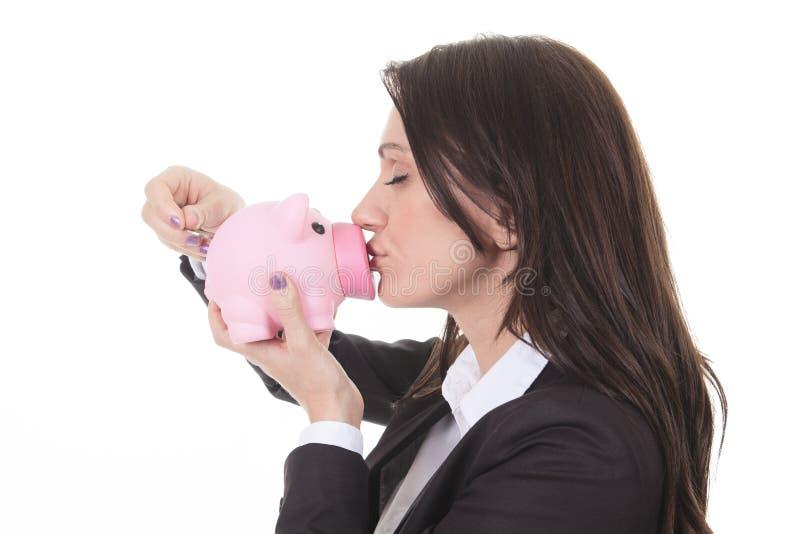 El besarse feliz de la mujer guarro imagen de archivo