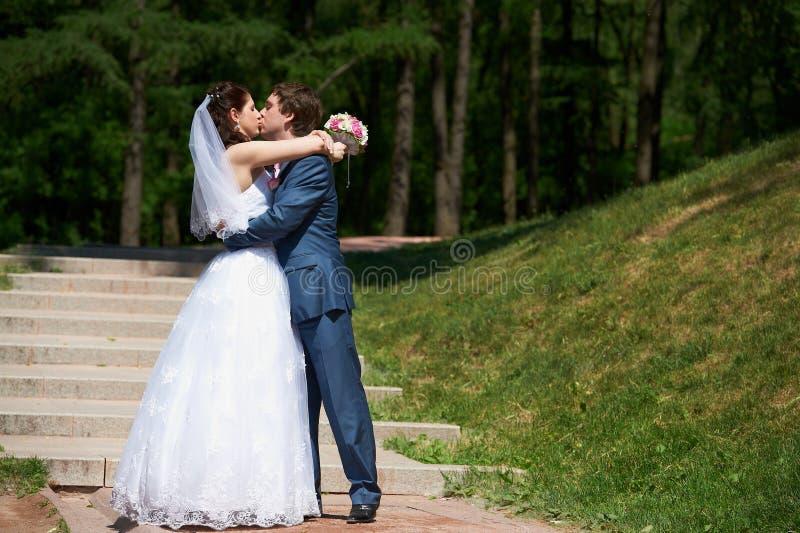 El besarse feliz de novia y del novio fotos de archivo libres de regalías