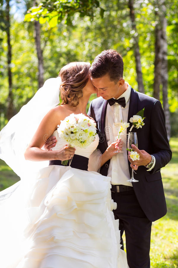 El besarse joven de novia y del novio imágenes de archivo libres de regalías