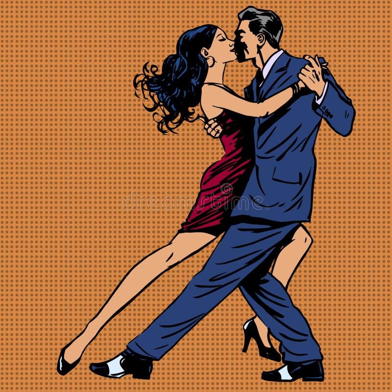 El beso del hombre y de la mujer baila arte pop del tango libre illustration