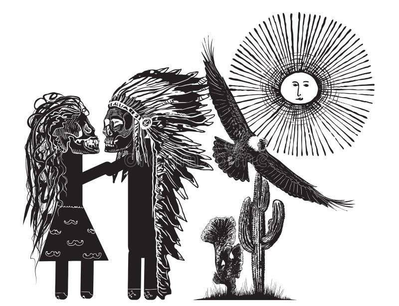 El beso - un vector dibujado mano libre illustration