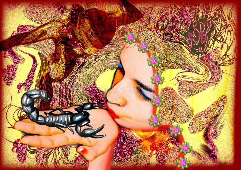 El beso - una muchacha y un escorpión stock de ilustración