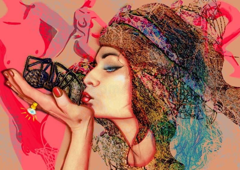 El beso - una muchacha y una araña libre illustration