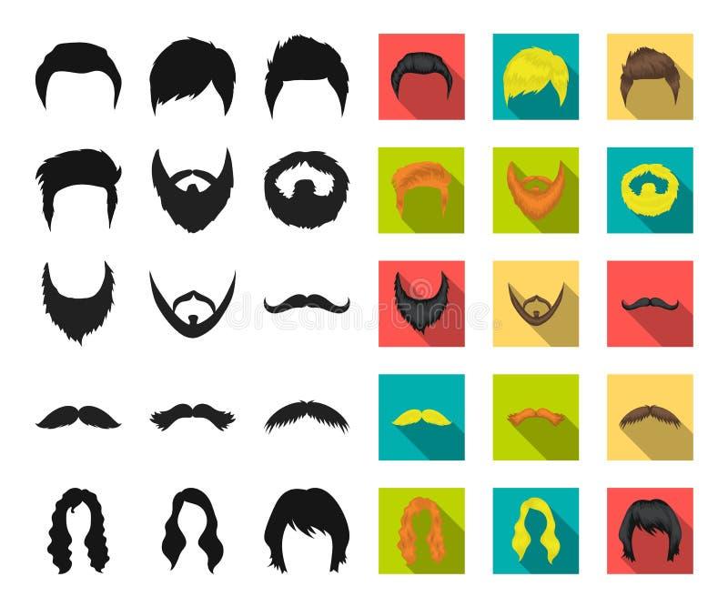 El bigote y la barba, peinados se ennegrecen, los iconos planos en la colección del sistema para el diseño Web elegante de la acc ilustración del vector