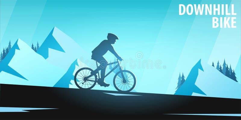 El biking de la montaña Bici en declive Bandera del deporte, forma de vida activa Ilustración del vector libre illustration