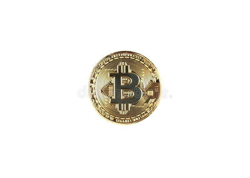 El bitcoin de oro oisolated en el fondo blanco imagen de archivo