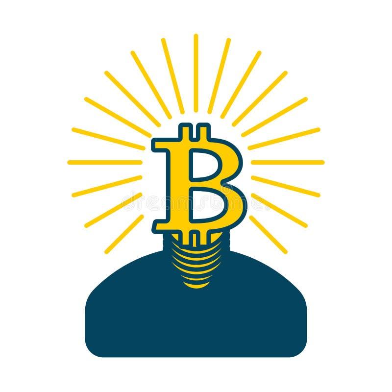 El bitcoin del minero es hombre de negocios Guy Cryptocurrency Illustr del vector stock de ilustración