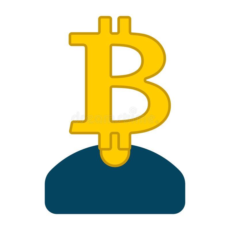 El bitcoin del minero es hombre de negocios Guy Cryptocurrency Vector Illust stock de ilustración
