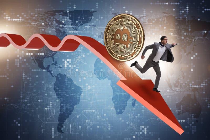 El bitcoin que persigue al hombre de negocios en desplome del precio del cryptocurrency ilustración del vector