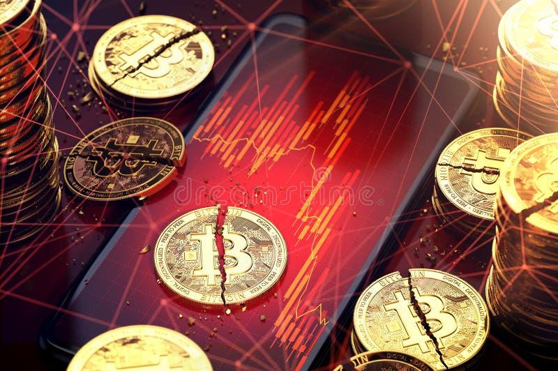 El bitcoin quebrado partió en dos pedazos que ponían en las cartas rojas exhibió en pantalla Dificultades para el concepto de los stock de ilustración