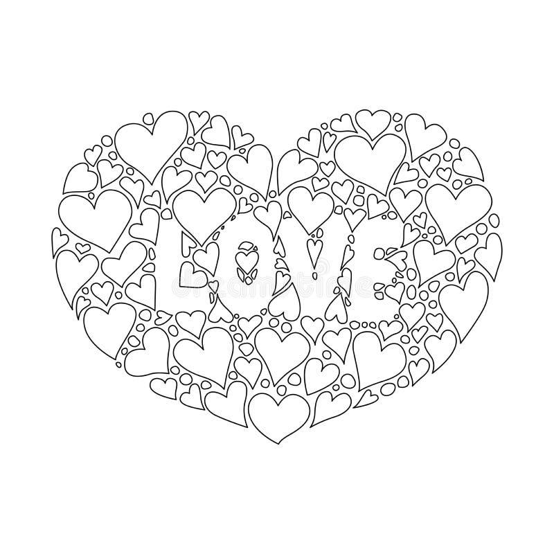 El blackground floral rosado con dos corazones dice amor usted para el fondo Ilustración del vector libre illustration