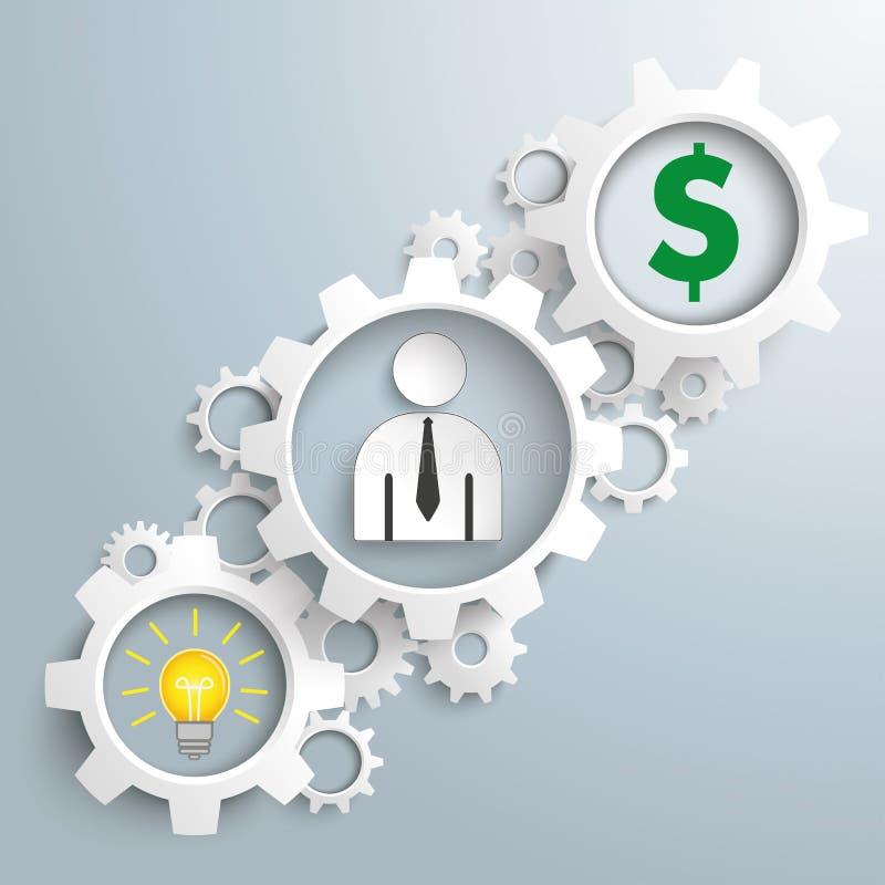 El blanco adapta al hombre de negocios Dollar de la idea stock de ilustración