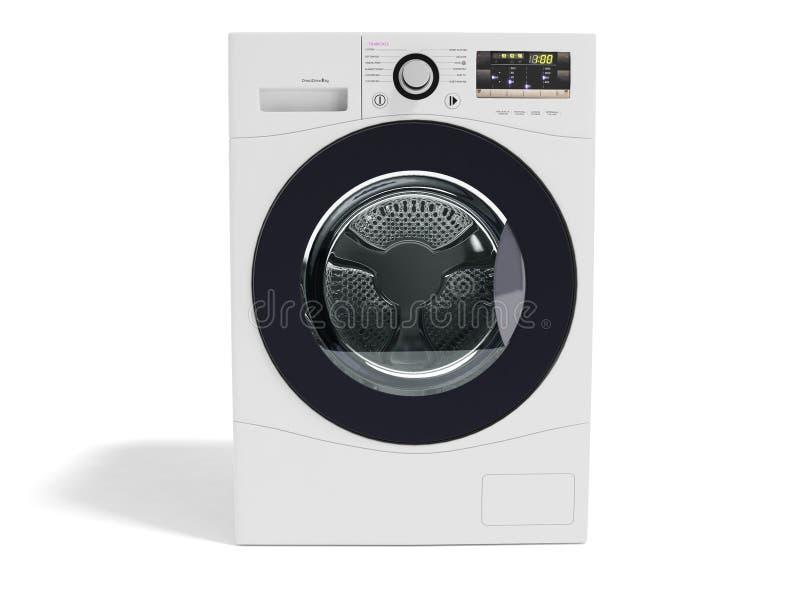 El blanco automático del coche eléctrico del lavado moderno con las inserciones púrpuras 3d delantero rinde en las fuentes blanca stock de ilustración