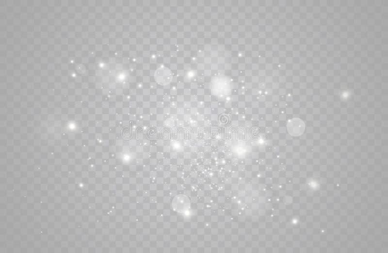 El blanco chispea y el efecto luminoso especial del brillo de oro de las estrellas El vector chispea en fondo transparente Navida ilustración del vector