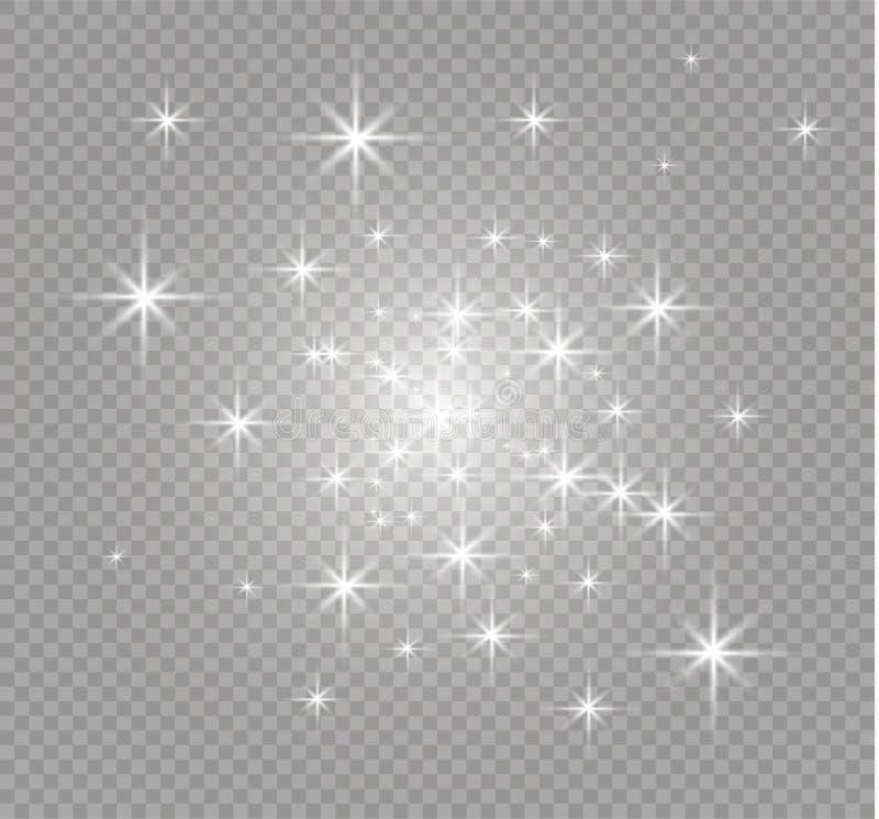 El blanco chispea y el efecto luminoso especial del brillo de oro de las estrellas El vector chispea en fondo transparente Navida stock de ilustración