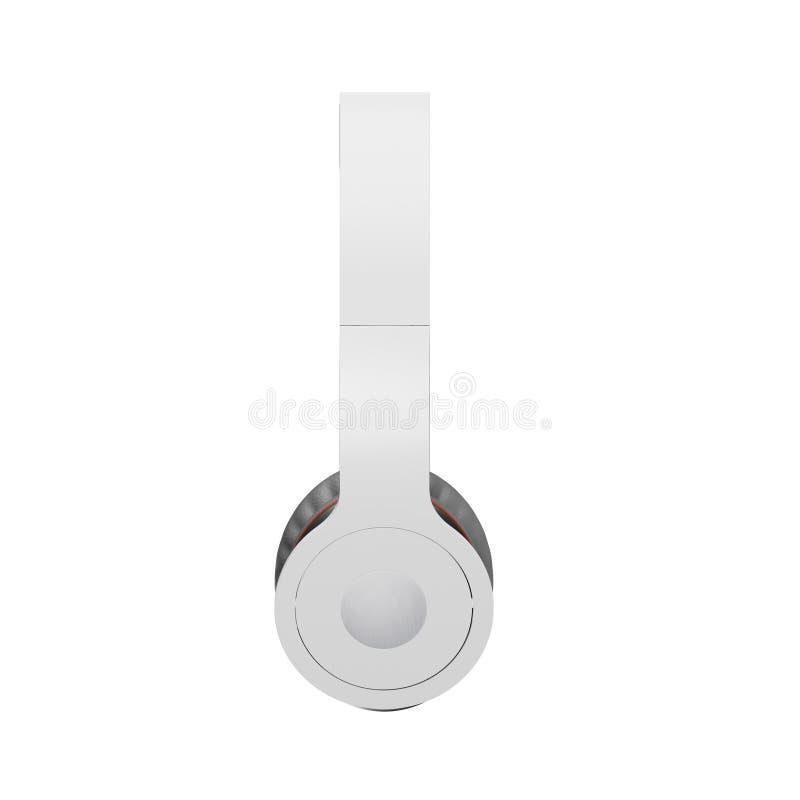 El blanco con los auriculares inalámbricos grises aislados en el ejemplo blanco 3d rinde stock de ilustración