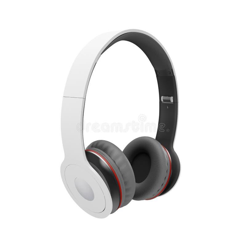 El blanco con los auriculares inalámbricos grises en el ejemplo blanco rinde stock de ilustración