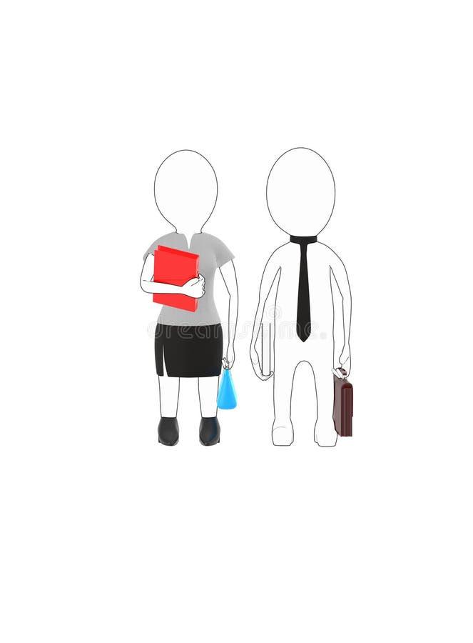 el blanco 3d resumió al varón del carácter y la hembra que lleva el vestido formal y que sostiene brefcase, el libro y el bolso,  libre illustration