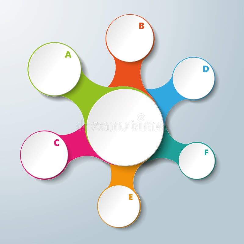 El blanco de Infographic conectado circunda 6 opciones ilustración del vector